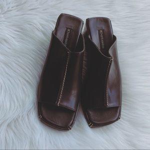 Details Brown And Cream Stitching Sandals